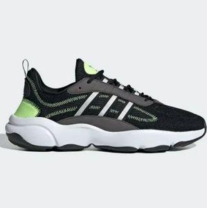nwt Adidas Haiwee black white volt green size 14